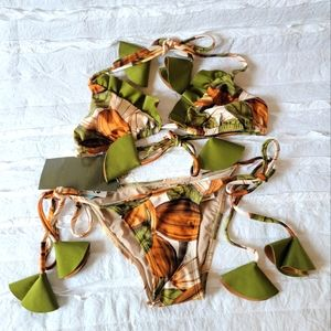 Agua De Coco cacao bean print bikini